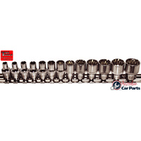 "13 Piece 1/4"" Drive Multi-Lock Sockets on rail 4-14mm T&E Tools M92214 NEW"