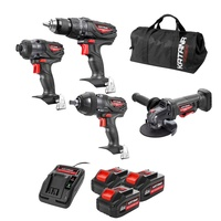 Katana by Kincrome 4 Piece Cordless Combo Kit, 18V Drill, Rattle Gun, Angle Grinder & Impact Driver Set 220540