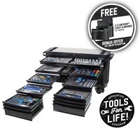 "CONTOUR® TOOL TROLLEY 403 PIECE 20 DRAWER EXTRA-WIDE 1/4, 3/8 & 1/2"" DRIVE - BLACK SERIES Kincrome P1815MB"