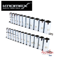 Metric & SAE Socket Deep Set Kromex Tools 1/2 drive on Rails 24 Piece pack New ""